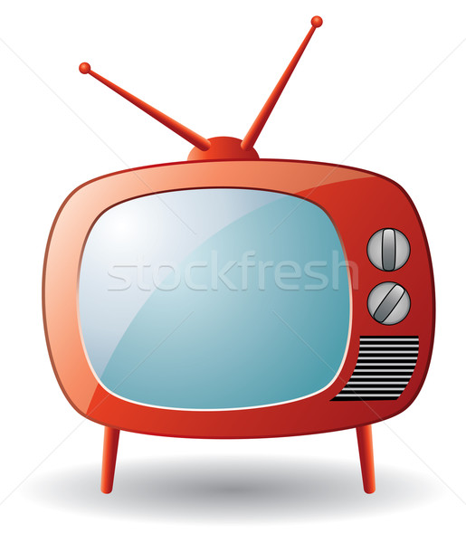 red retro tv set Stock photo © freesoulproduction