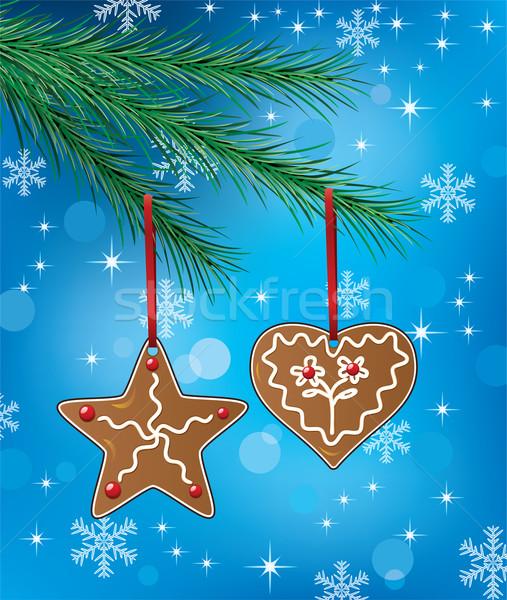 пряничный Cookies вектора праздник иллюстрация цветок Сток-фото © freesoulproduction