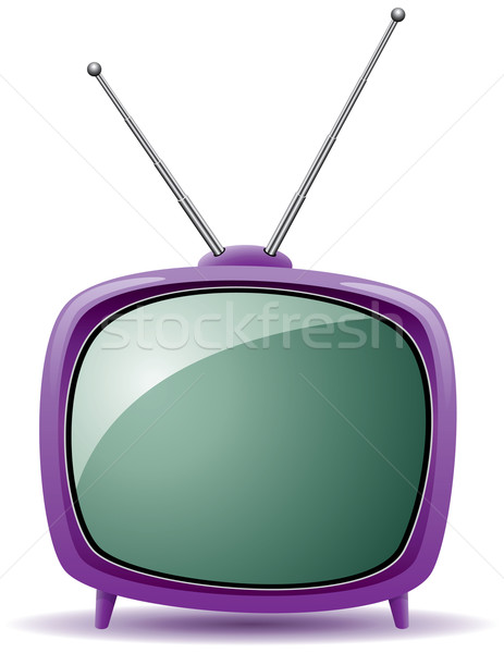vector purple retro tv set  Stock photo © freesoulproduction