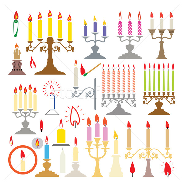 vector  silhouettes of candlesticks and candles  Stock photo © freesoulproduction