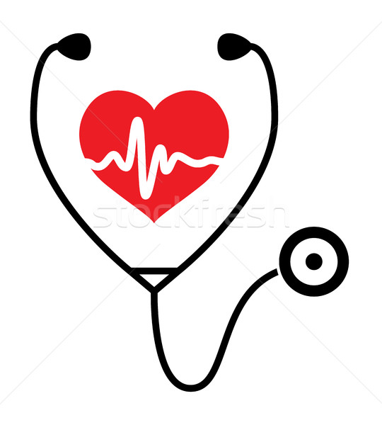 vector symbol of medical exam of heart health and heartbeat with Stock photo © freesoulproduction