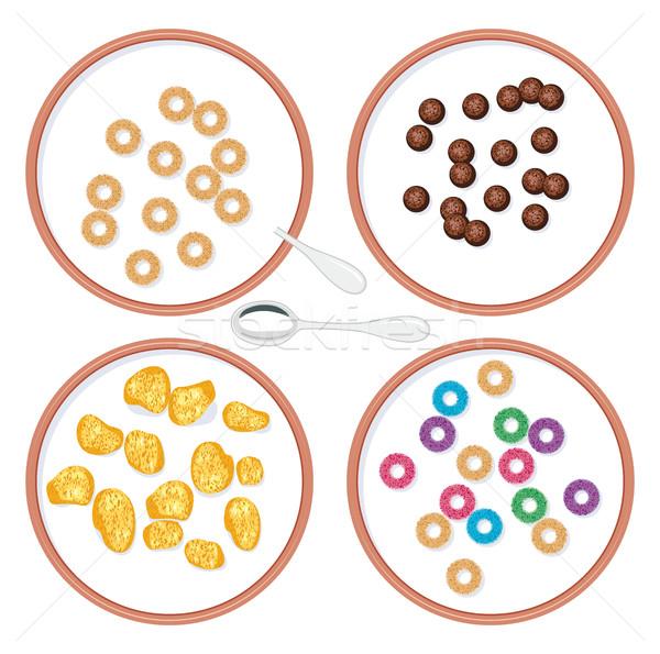 Stock photo: vector bowls with breakfast wholegrain cereal in milk
