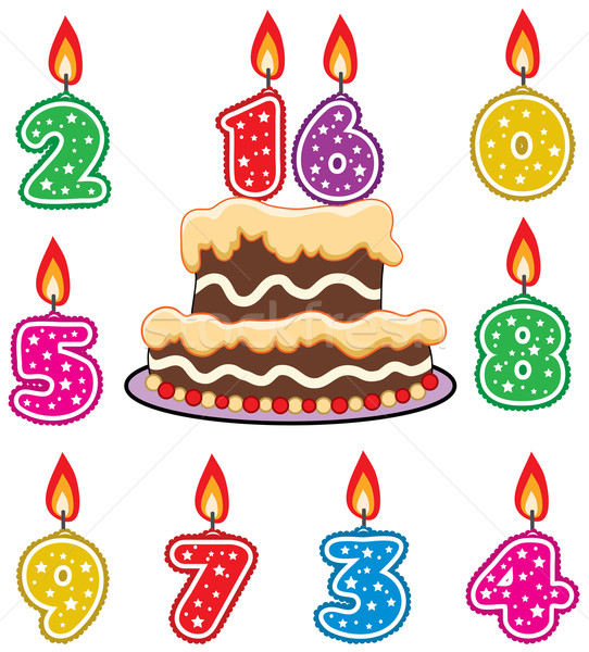 Stock photo: vector birthday candles and chocolate cake