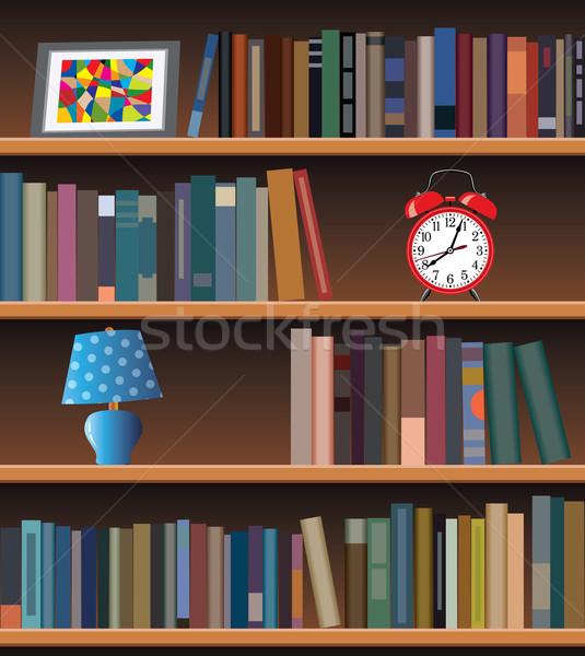 современных книжная полка вектора служба часы дизайна Сток-фото © freesoulproduction