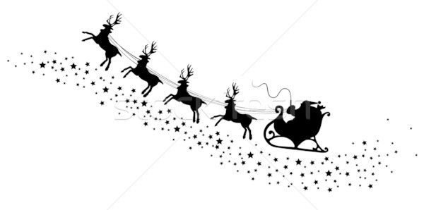 vector holiday illustration of santa and deers Stock photo © freesoulproduction