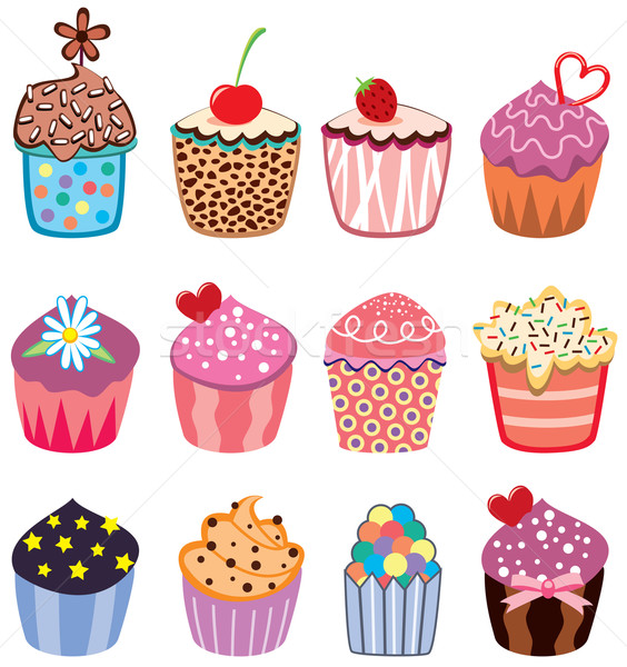 vector set of colorful cupcakes  Stock photo © freesoulproduction