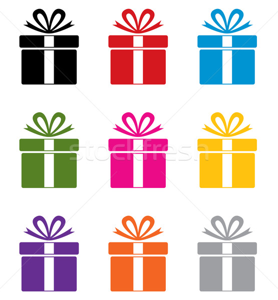 vector set of colorful gift box symbols  Stock photo © freesoulproduction