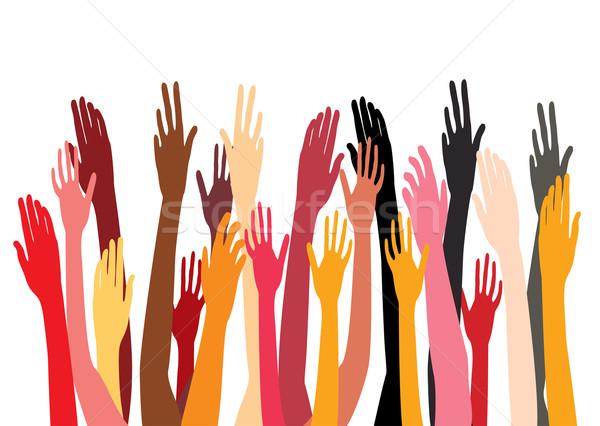 Stockfoto: Handen · vector · vergadering · gelukkig · menigte · groep