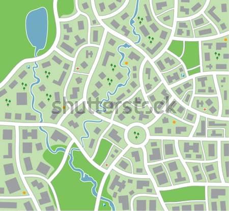 Сток-фото: вектора · бесшовный · дороги · город · карта · аннотация