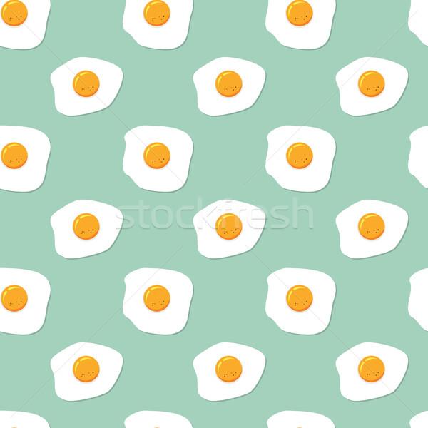 Сток-фото: вектора · бесшовный · завтрак · шаблон · жареный · яйца
