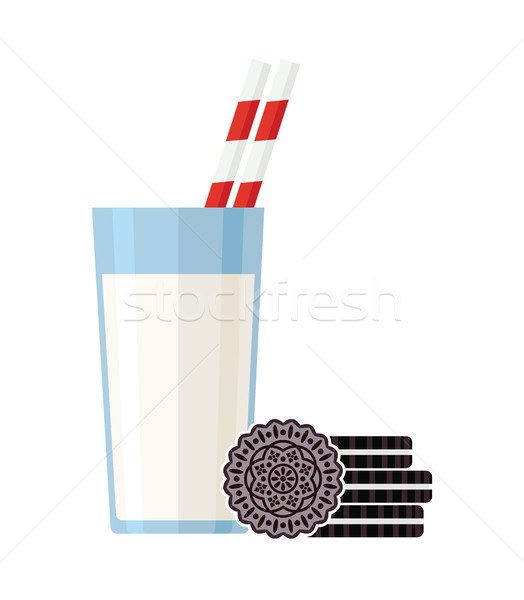 Vector desayuno ilustración vidrio leche cookies Foto stock © freesoulproduction