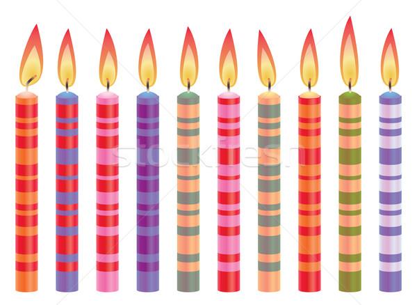 Vektor színes születésnapi gyertyák szett buli boldog Stock fotó © freesoulproduction