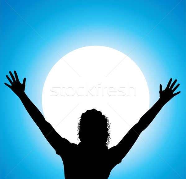 Stockfoto: Vector · meisje · opgeheven · handen · silhouet · haren · Blauw