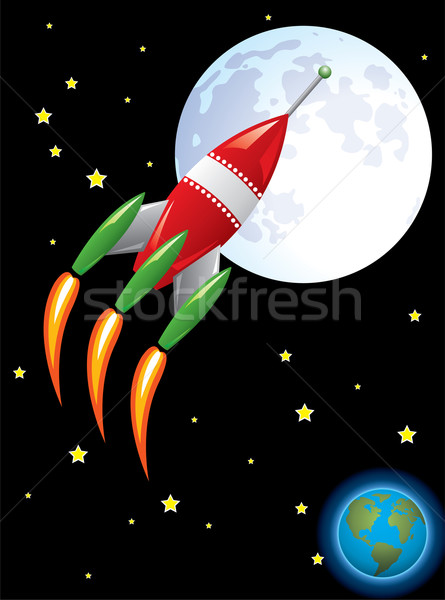 vector stylized retro rocket ship in space Stock photo © freesoulproduction