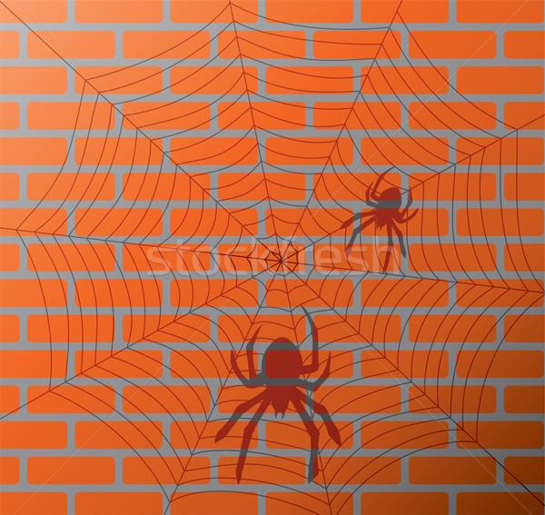Vecteur ombre araignées web mur de briques construction Photo stock © freesoulproduction