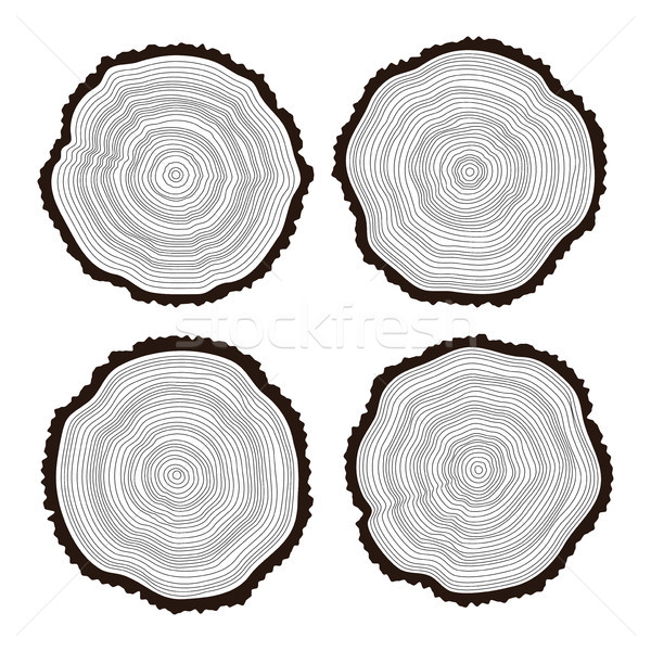 vector set of black and white wooden cuts Stock photo © freesoulproduction