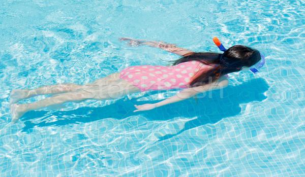 Snorkeling fiatal lány gyermek kék jókedv boldogság Stock fotó © Freila
