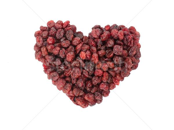 Séché canneberges forme de coeur isolé blanche Photo stock © Freila