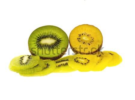 Kiwi vert jaune coupé blanche Photo stock © Freila