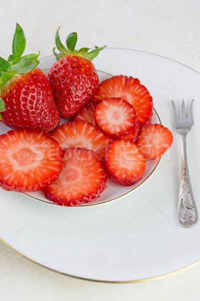 Fraises blanche plaque chambre texte fruits Photo stock © Freila