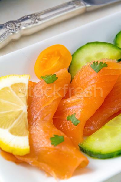 Photo stock: Saumon · mise · au · point · sélective · fraîches · blanche · plaque