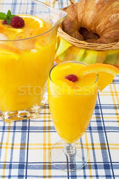 Suco de laranja café da manhã fresco croissants fruto vidro Foto stock © Freila