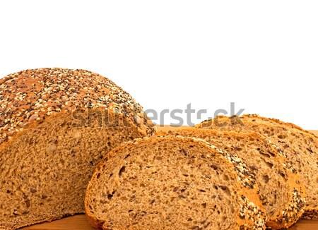 Teljeskiőrlésű kenyér kenyérszelet pipacs napraforgó szezámmag Stock fotó © Freila