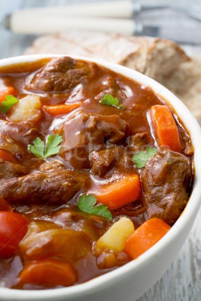 Sığır eti güveç havuç patates gıda ekmek akşam yemeği Stok fotoğraf © Freila