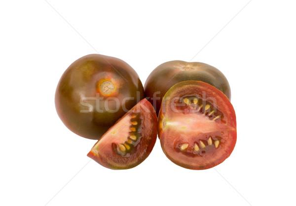 Noir tomates ensemble coupé blanche isolé Photo stock © Freila