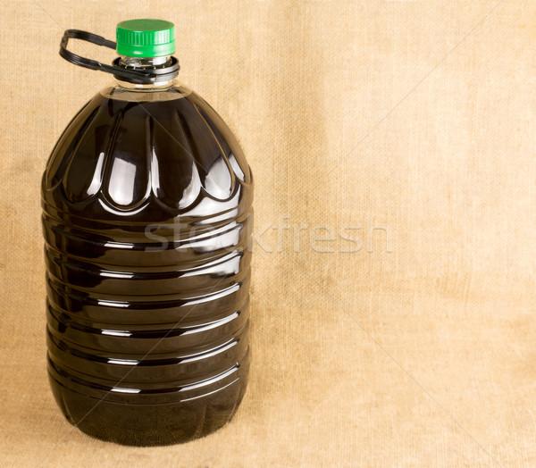 Huile d'olive bouteille espace de copie feuille fruits olive Photo stock © Freila