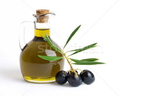Huile d'olive olives blanche espace de copie verre or Photo stock © Freila
