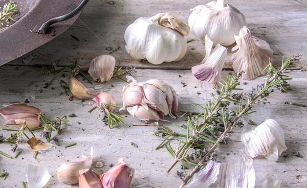 Ail romarin vieux rouillée pot blanche Photo stock © Freila