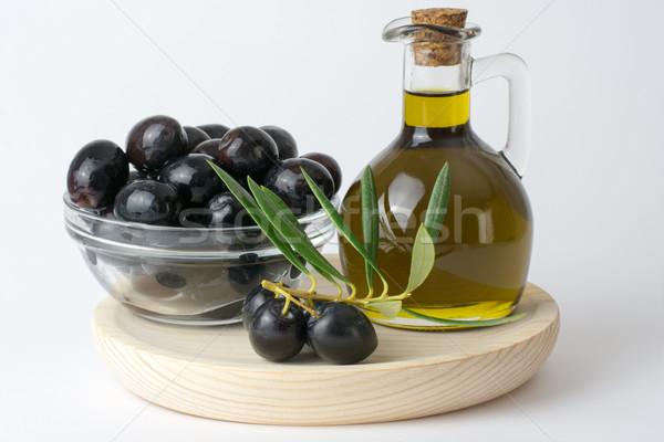Olives fraîches huile d'olive bois verre Photo stock © Freila