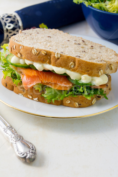 Photo stock: Saumon · fraîches · salade · sandwich · chambre