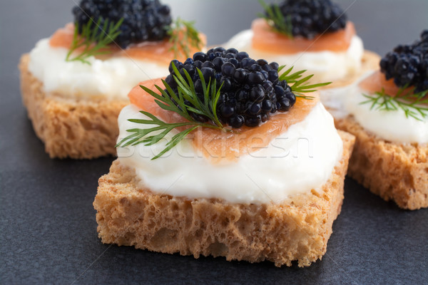 Caviar haut saumon crème fromages chambre Photo stock © Freila