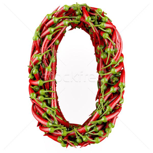 Numara sıfır kırmızı biber yalıtılmış beyaz Stok fotoğraf © frescomovie