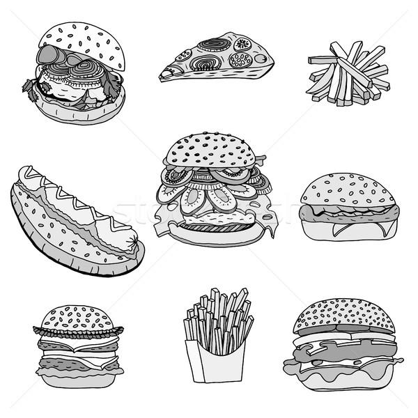 Fast food illustraties ingesteld hot honden Stockfoto © frescomovie