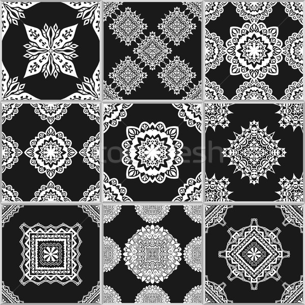 Black and white geometric tiles Stock photo © frescomovie