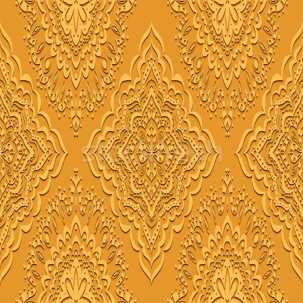 Stock fotó: Vektor · végtelen · minta · klasszikus · papír · textúra · háttér