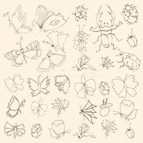 Set of butterflies Stock photo © frescomovie