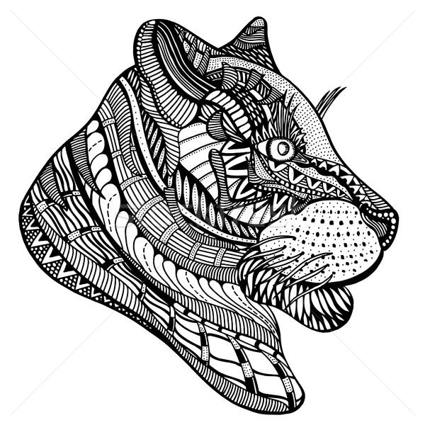 тигр этнических цветочный шаблон страница дизайна Сток-фото © frescomovie