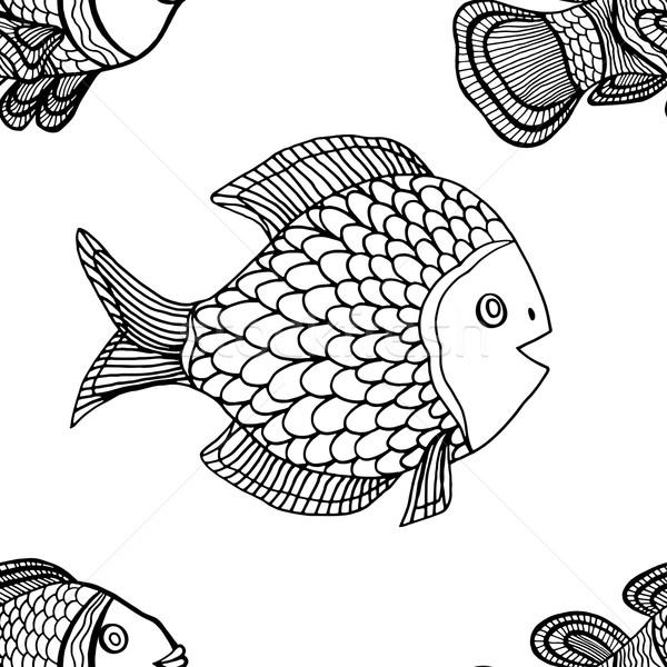 パターン モノクロ シームレス ベクトル 手描き いたずら書き ストックフォト © frescomovie
