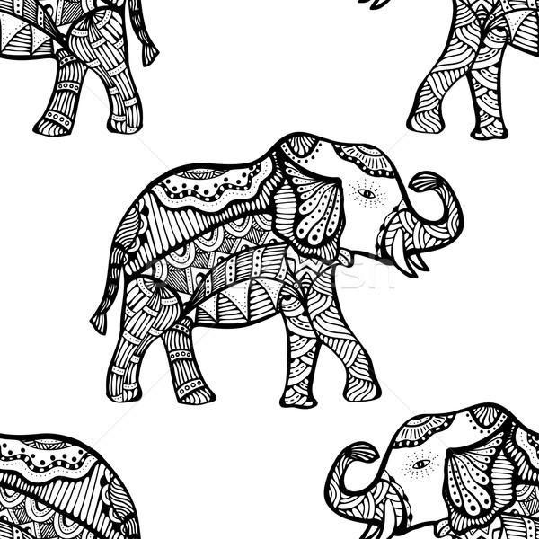 Minta elefánt végtelen minta kézzel rajzolt kisebbségi kéz Stock fotó © frescomovie