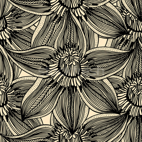 Monocromático floral padrão vetor sem costura Foto stock © frescomovie