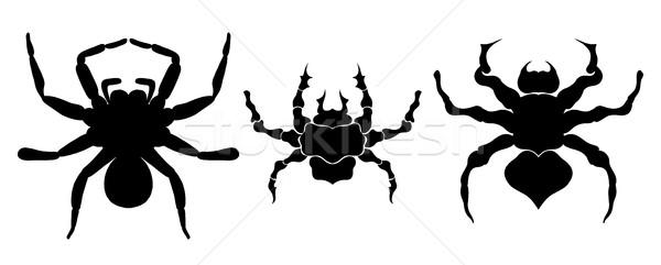 Preto silhueta aranha ícone isolado Foto stock © frescomovie