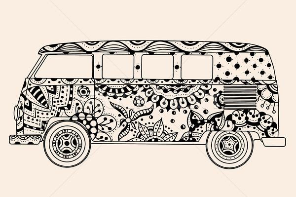 Bus zwarte beige kleur vintage Stockfoto © frescomovie