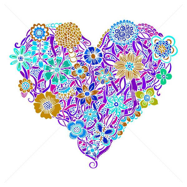 Heldere bloem hart psychedelic geïsoleerd Stockfoto © frescomovie