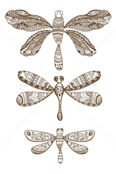 Conjunto estilo isolado branco marrom Foto stock © frescomovie