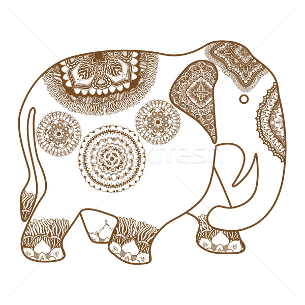 Vector olifant henna tattoo doodle ingericht Stockfoto © frescomovie