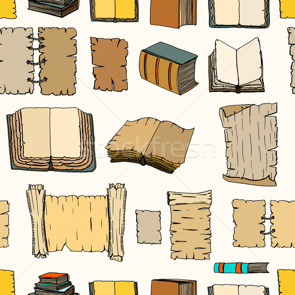 Seamless pattern of Big Set Books manuscripts Stock photo © frescomovie